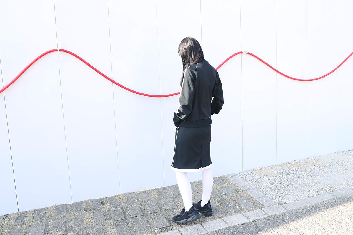 keisuke kanda ケイスケカンダ ジャージ・ミーツ・シャネル・下[J9/黒]