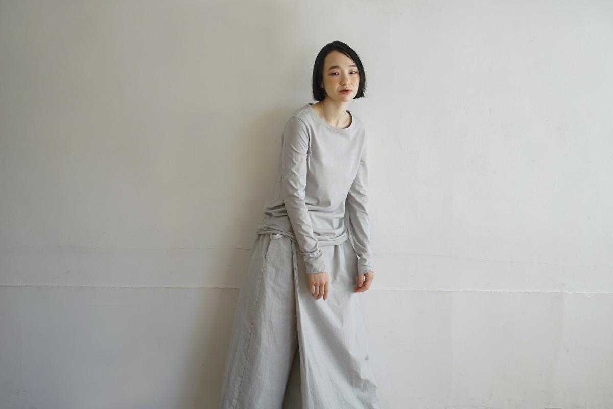 Mochi モチ cotton silk cut&saw [grey fog]