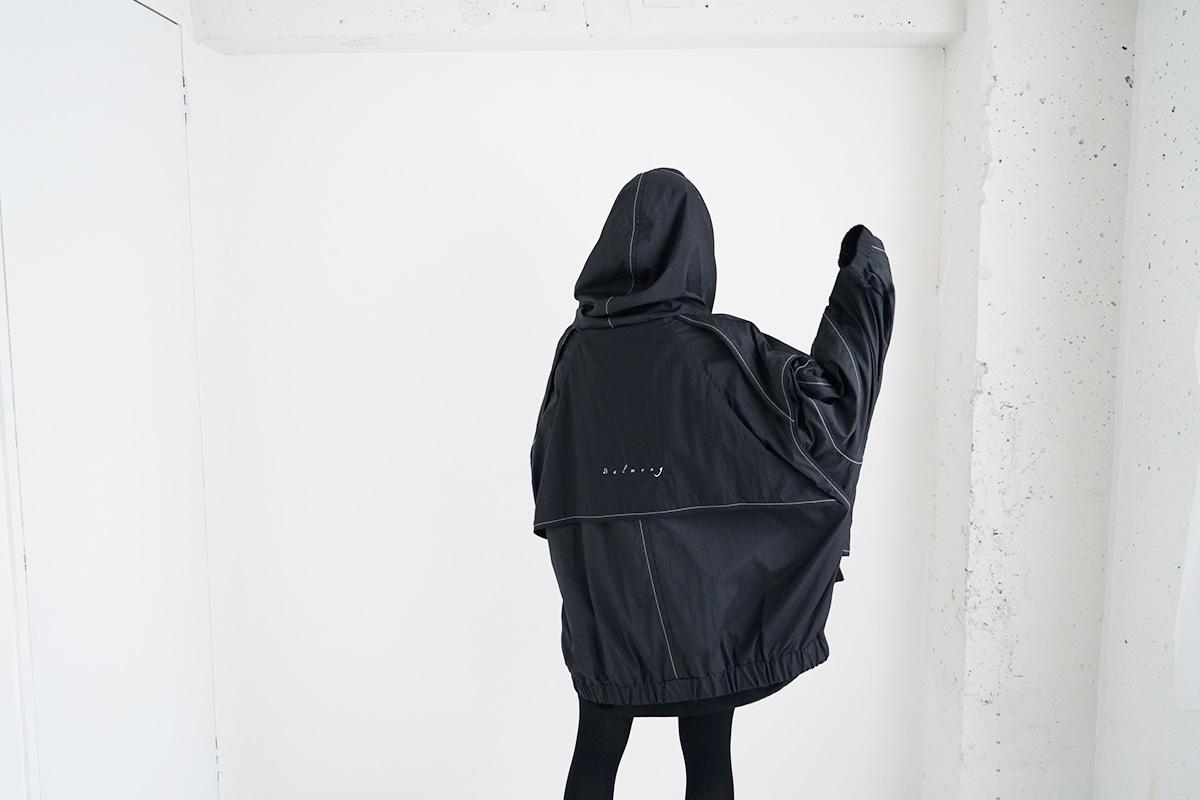21AW02 ベーシック重ねハイネックビッグパーカー[黒]