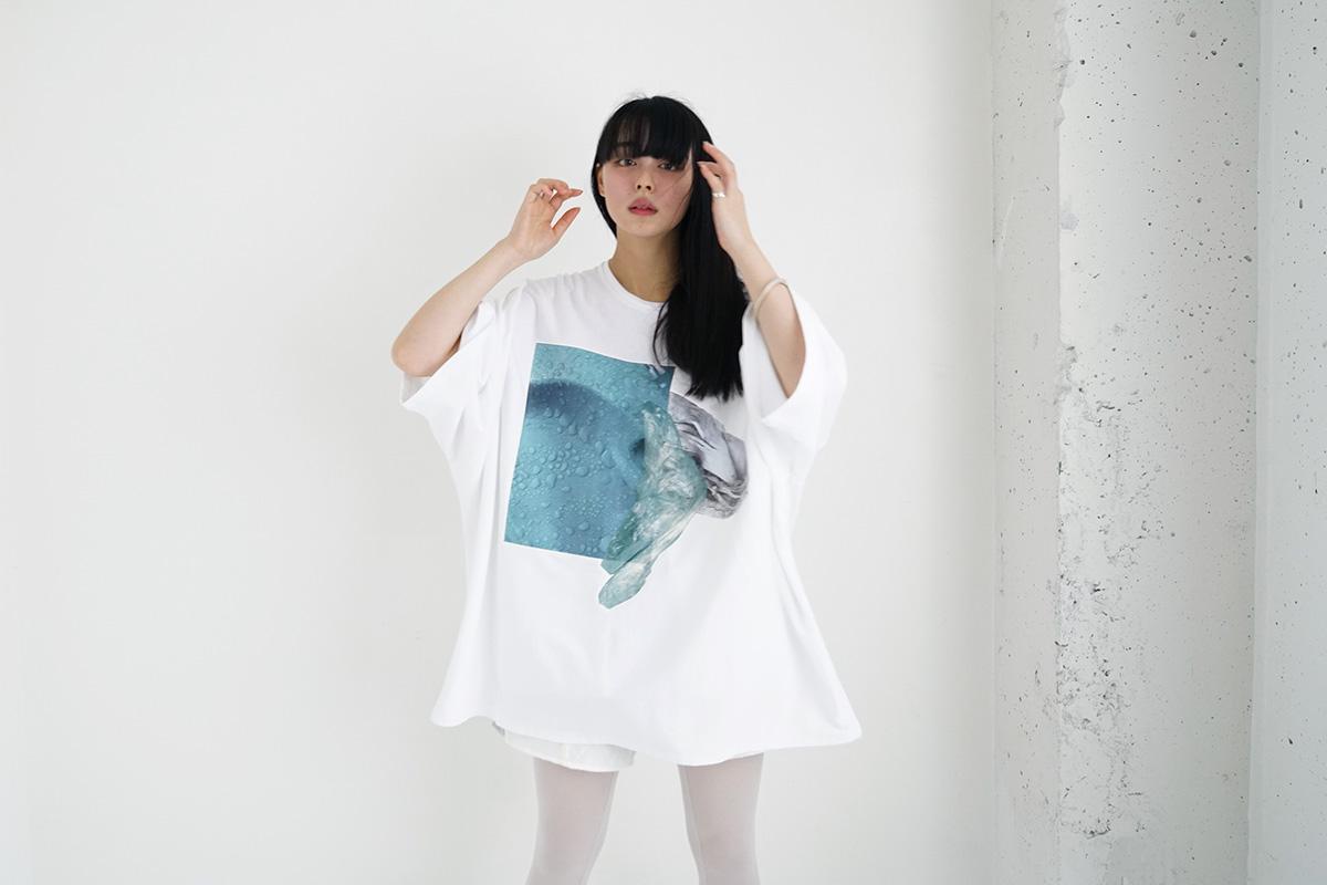 21AW18 プリントビッグTシャツ[白]
