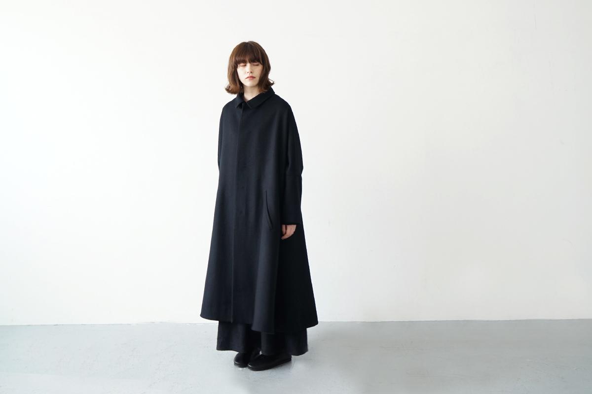 Mochi stand fall collar coat [ma21-co-02/black]