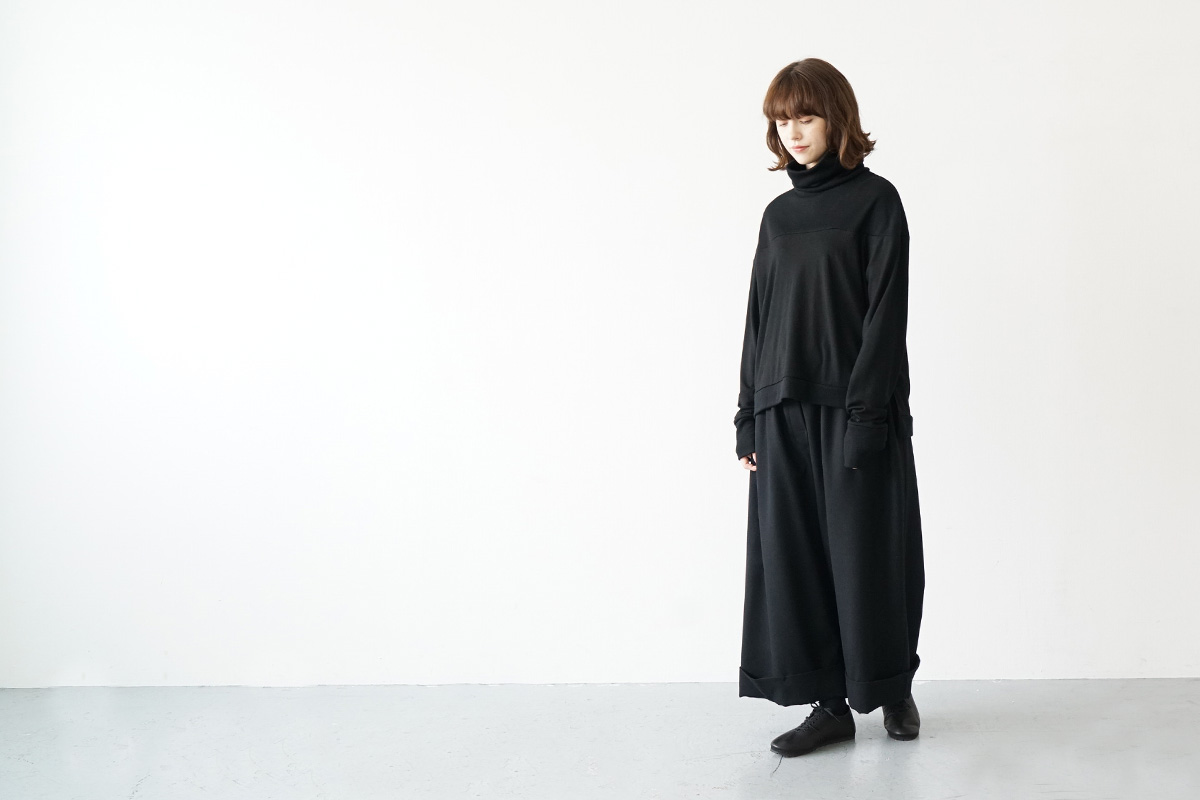 Mochi cropped wide pants [ma21-pt-02/black]