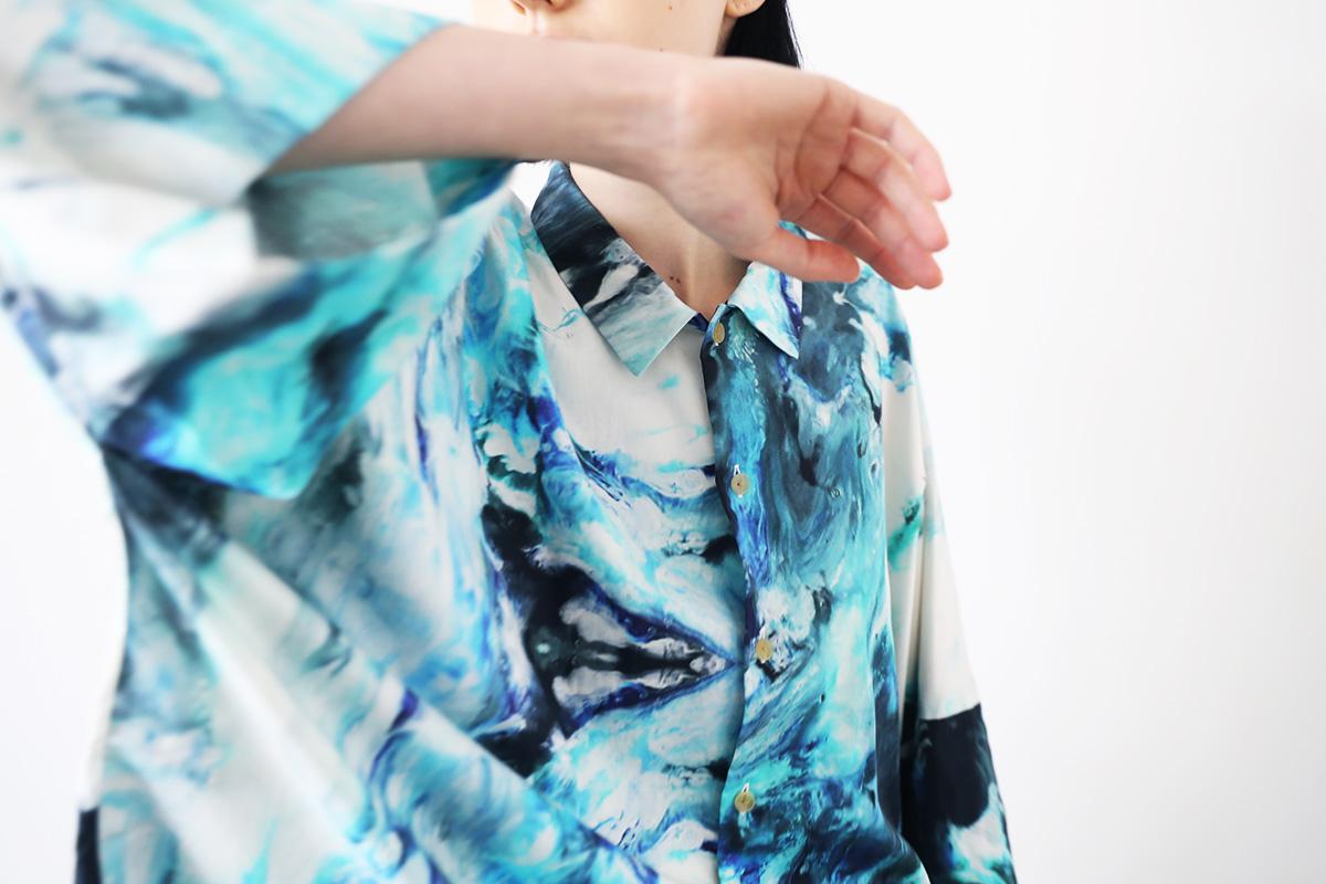 VUy ヴウワイ 感覚ピエロ×macromauro×VUy <br>original dolman shirt vuy-s22-os05[PAINT BLUE]
