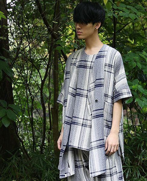 YANTOR Amunzen Check Haori Coat[Y173CO03/BLUE]