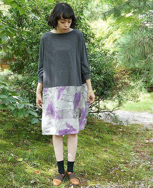 ohta オオタ charcoalgray easy dress[18ss-op-07C]