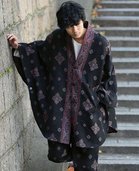 YANTOR Handwoven Jaquard Silk Kesa Coat[Y183CO03/BLACK]