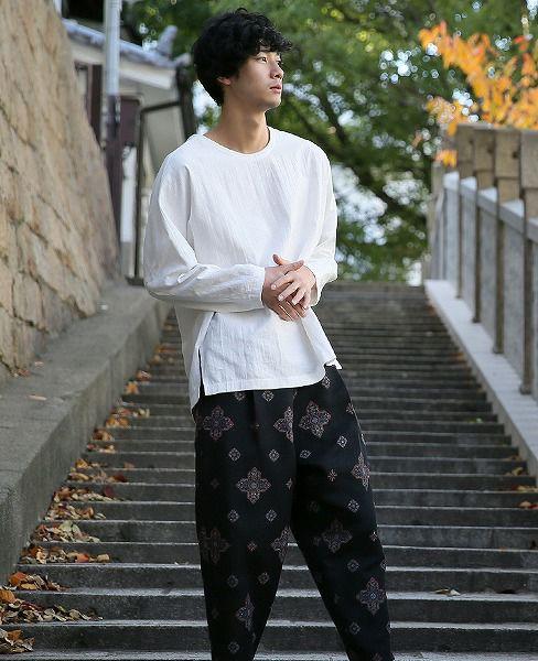 YANTOR Khadi Cotton Long Pullover[Y184PO03/WHITE]