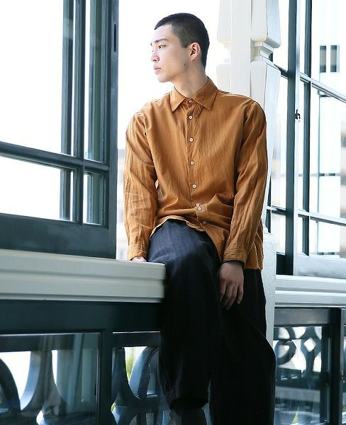 suzuki takayuki スズキタカユキ poet's shirt[A193-05/orange]