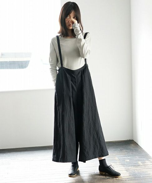 Mochi モチ suspenders wide pants [18AW-PT01]