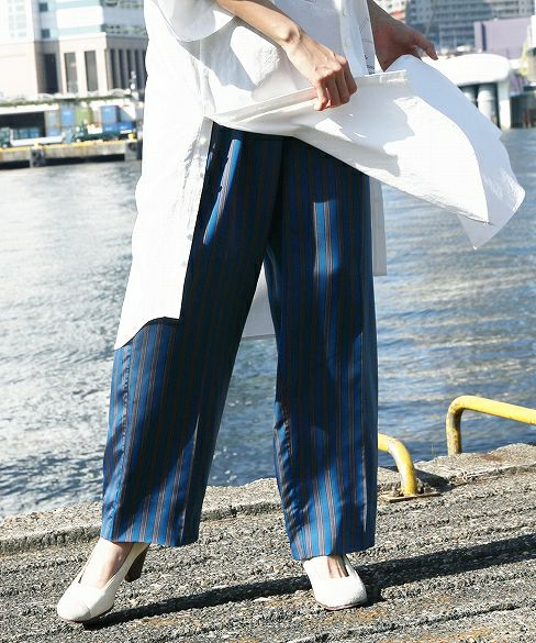 hatra ハトラ Line_Lining_Pants[9-BT06-BLUE]