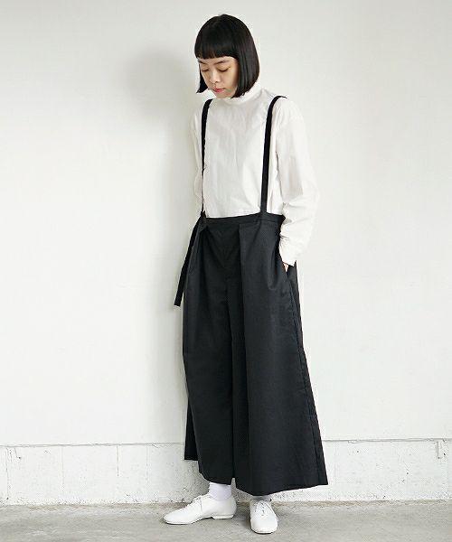 Mochi モチ black wide suspenders pants [19SS-P01]