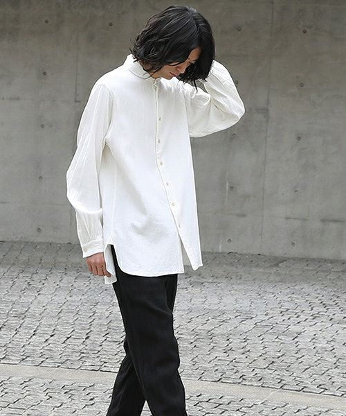 suzuki takayuki スズキタカユキ one-piece-shawl-collar shirt[A203-04/nude]