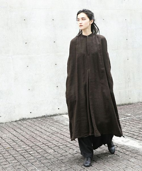 suzuki takayuki スズキタカユキ peasant dress[A201-13/dark brown]