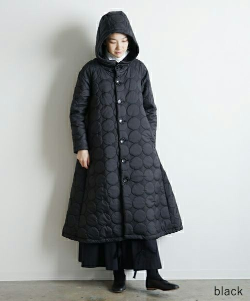 Mochi モチ quilted hood coat[ma9-co-01/black・khaki]
