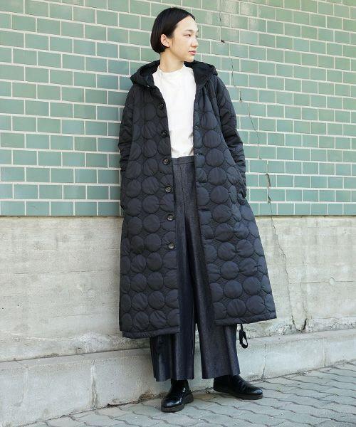 Mochi モチ quilted hood coat[ma9-co-01/black・khaki]