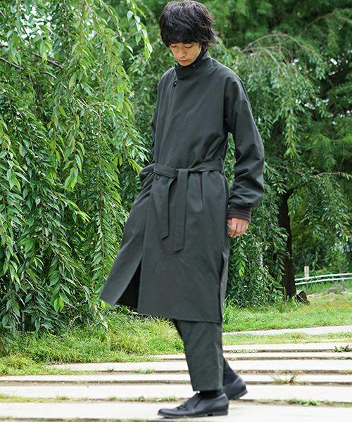 YANTOR Wash Wool Rib Coat[Y194CO02/GREEN]