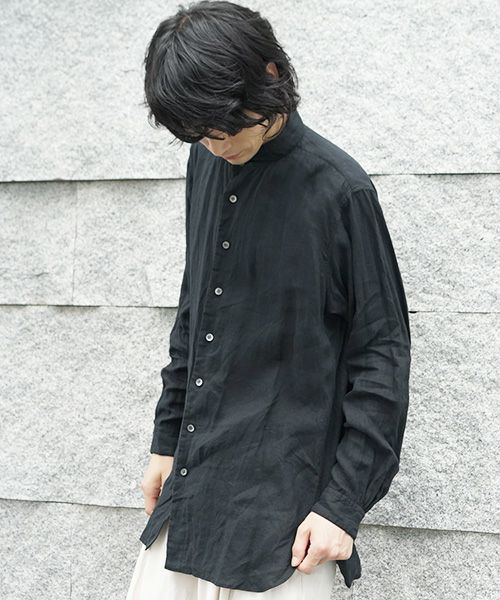 suzuki takayuki スズキタカユキ one-piece shawl-collar shirt[S203-09/black]