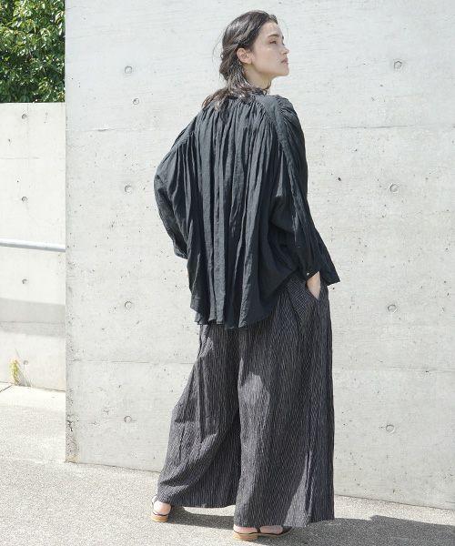 suzuki takayuki スズキタカユキ wrapped pants ii[S202-16/black stripe]