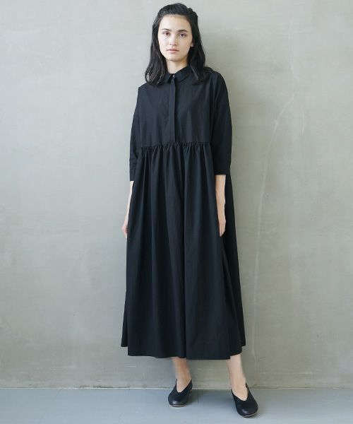 Mochi モチ shirt dress [ms02-op-05/black]