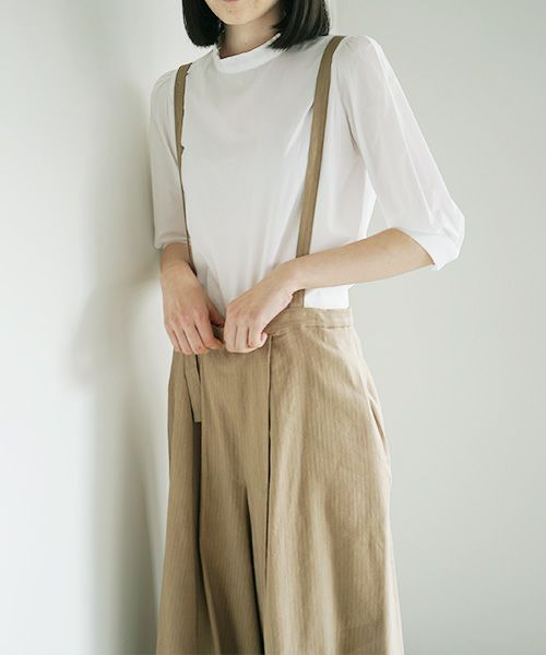 Mochi モチ suspenders wide pants [ms02-p-01/beige]