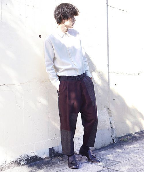 YANTOR ヤントル Block Jamdani Himo Pants[Y203PT03/WINE×CHARCOAL]