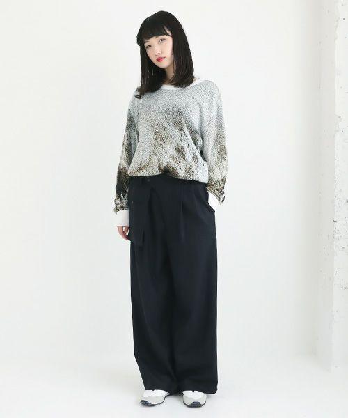 hatra ハトラ Wide Organ Trousers[BT01-NAVY]