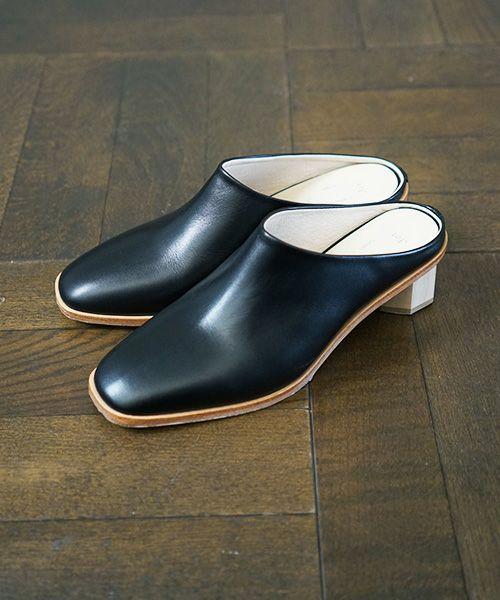 _Fot wood heel mules_octagon [0902s・black]