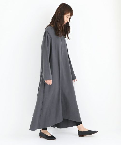 Mochi モチ cotton linen one piece [charcoal grey]