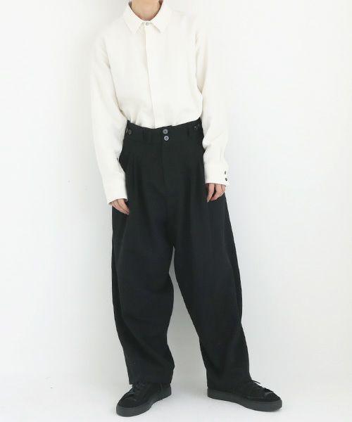 YANTOR ヤントル Stone Nep 2tuck Wide Pants[Y204PT02/BLACK]