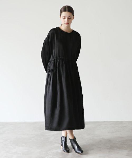 Mochi モチ silk cotton gather dress [mochi-d-02/black]