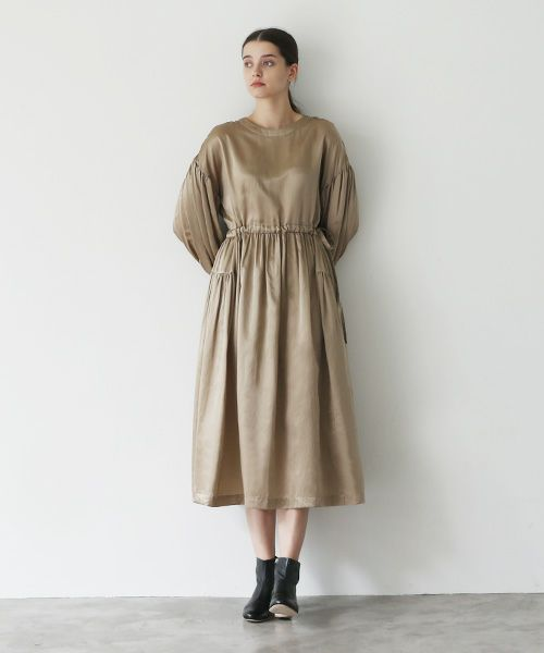 Mochi モチ silk cotton gather dress [mochi-d-02/brown beige]